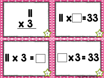 Multiplication Facts Task Cards - Elevens Times Tables