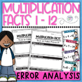 Multiplication Facts Task Cards Error Analysis