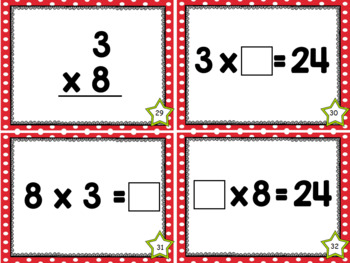 Multiplication Facts Task Cards - Three Times Tables