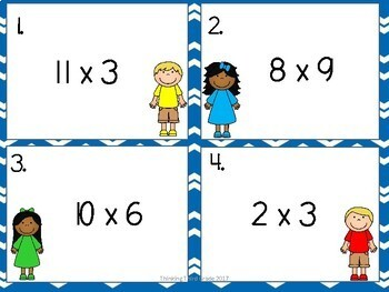 Multiplication Facts Task Cards SET 1 3rd 4th Grade SCOOT