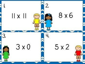 Multiplication Facts Task Cards SET 2 3rd 4th Grade Scoot
