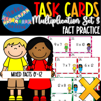 Multiplication Facts Task Cards SET 3 3rd 4th Grade SCOOT