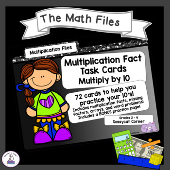 Multiplication Facts Task Cards - Tens Times Tables