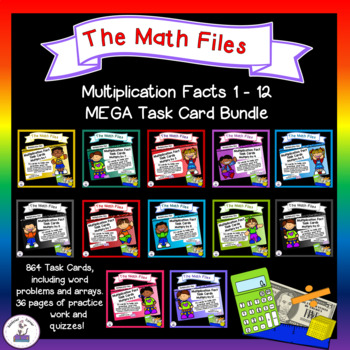 Multiplication Facts Task Cards - Times Tables Bundle 1 to 12