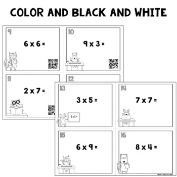 Multiplication Facts Task Cards with Optional QR Codes