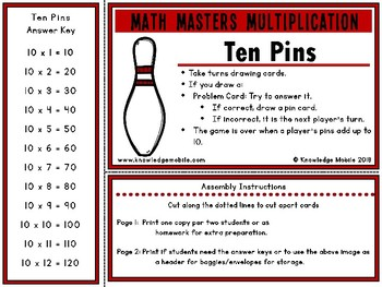 Multiplication Facts - Ten Printable Game