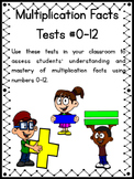 Multiplication Facts Mastery Tests 0-12