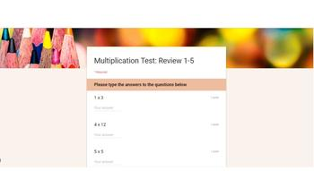 Multiplication Facts Tests with Google Forms!