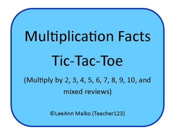 Multiplication Facts Tic-Tac-Toe