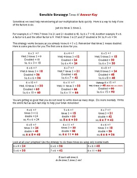 Multiplication Facts - Times 6 Strategy