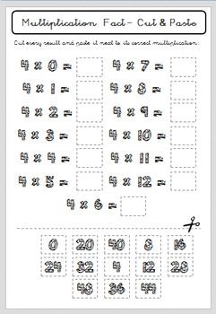 Multiplication Facts (Times Tables) - Number 4 - Grades 1, 2 & 3 - Printable