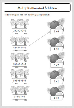 Multiplication Facts (Times Tables) - Number 5 - Grades 1, 2 & 3 - Printable