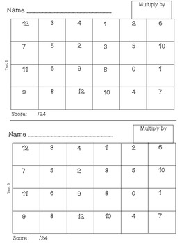 Multiplication Facts Tracker iPad Themed with Tests