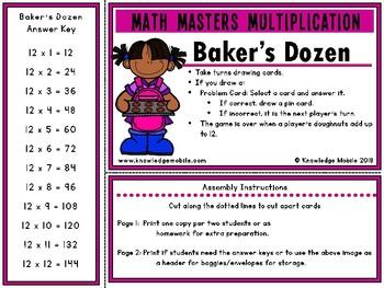 Multiplication Facts - Twelve Printable Game