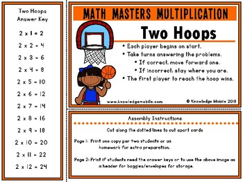Multiplication Facts - Two Printable Game