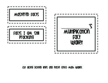 Multiplication Facts Wallet