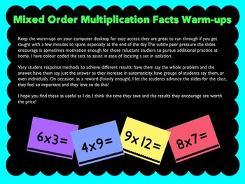 Multiplication Facts Warm-up Slides (Mixed order)