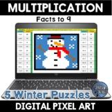 Multiplication Facts Winter Digital Pixel Art