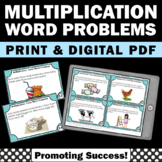 Multiplication Word Problems Task Cards, 3rd Grade Math Review Games SCOOT