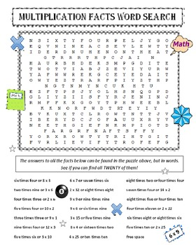 Multiplication Facts Word Search Puzzle
