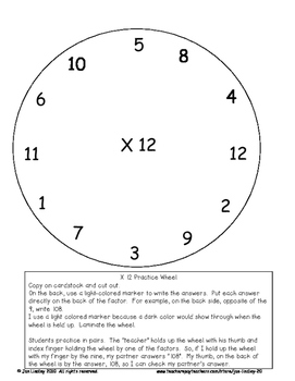 Multiplication Facts X12 Practice Activities