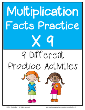 Multiplication Facts X9 Practice Activities