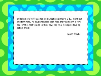 Multiplication Facts Yay! Tags (Brag Tags)