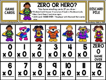 Multiplication Facts - Zero Printable Game