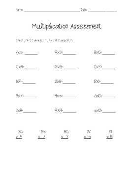 Multiplication Facts and 2 Digit by 1 Digit Multiplication Assessment