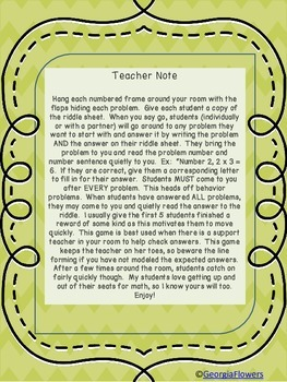 Multiplication Facts and Riddle Game X 6