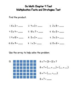 Multiplication Facts and Strategies Test (Go Math 3rd Grade Chapter 4)