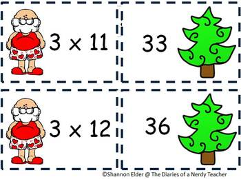Multiplication Facts for 3's Common Core - Silly Santa