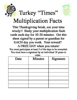 Multiplication Facts reward for Thanksgiving Break