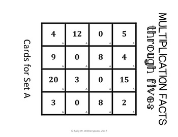 Multiplication Facts through 5's Sort, Matching Game- Includes 10 Versions!