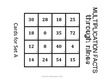 Multiplication Facts through 9's Sort, Matching Game- Includes 10 Versions!