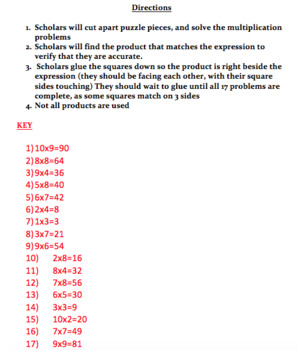Multiplication Facts to 100 Puzzle Multiplication Facts 1-10 Puzzle