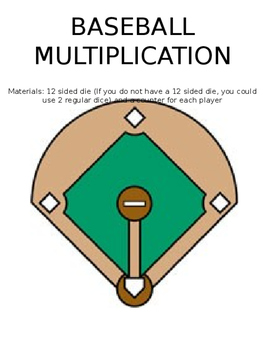 Multiplication Facts (up to 12) Baseball Game