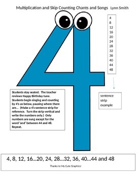 Multiplication Facts skip counting with music!