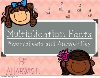 Multiplication Facts~worksheets with answer key