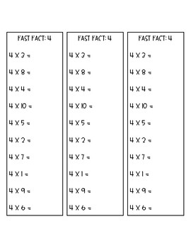 Multiplication Fast Fact Sheets