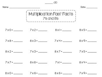Multiplication Fast Facts