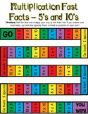 Multiplication Fast Facts Board Game - 5's and 10's