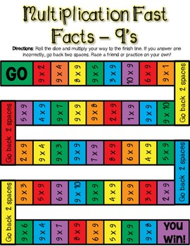 Multiplication Fast Facts Board Game - 9's