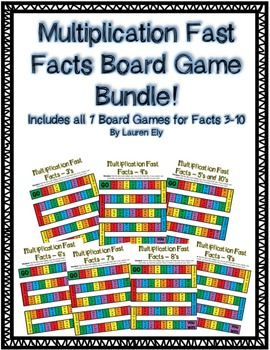 Multiplication Fast Facts Board Game BUNDLE! Includes Facts 3-10