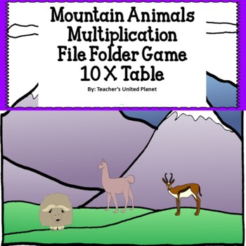 Multiplication File Folder Games 10X Table Mountain Animals