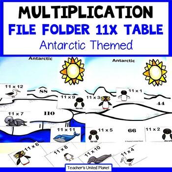 Multiplication File Folder Games 11X Table Antarctic Animals
