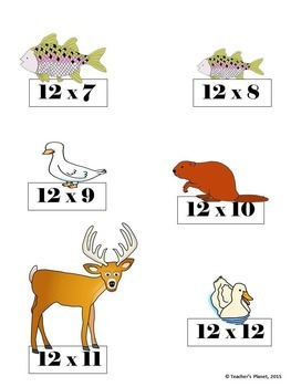 Multiplication File Folder Games 12X Table Freshwater Animals