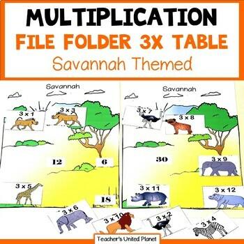 Multiplication File Folder Games 3 X Table Savannah Animals