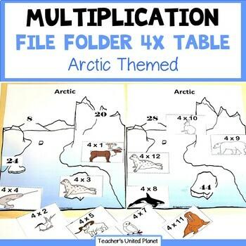 Multiplication File Folder Games   4 X Table Arctic Animals