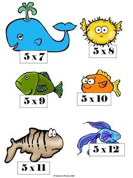Multiplication File Folder Games 5X Table Ocean Animals